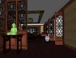 中式风格会客厅室内设计|SU模型