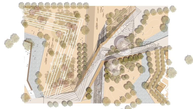 3套高端景观彩色平面图PSD分层素材,生态、森林、滨水公园平面-天桥雨水花园平面RGB