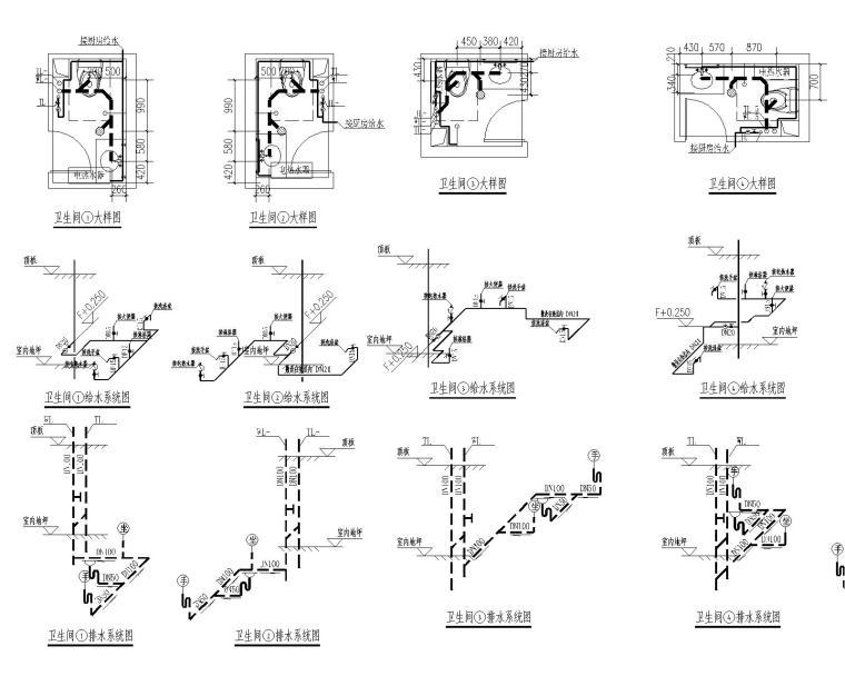 [甘肃]高层建筑给排水施工图(含给排水平面及系统,消防平面及系统,水泵房及卫生间大样等)_8