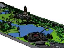 中式古建北塔公园景观SU模型