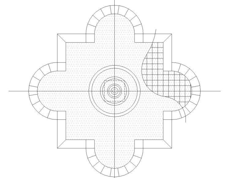 欧式花钵喷泉水景设计详图