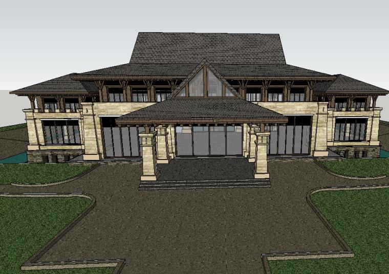 新中式古典会所建筑模型设计-场景一