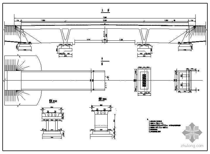 V型桥墩桥梁资料下载-v型刚构桥成套cad设计图纸