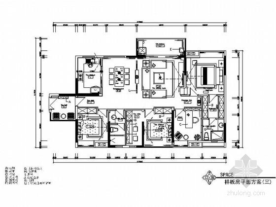 [湖南]高档欧式四居室室内装修施工图(含高清效果图)