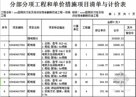 [广东]2015年医院宿舍楼装修工程预算书(附施工图纸)-02分部分项工程和单价措施项目清单与计价表(安装)