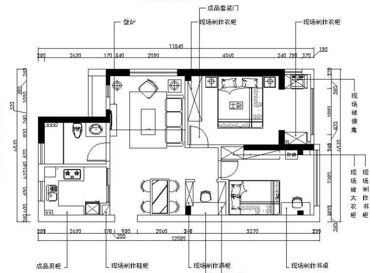 [杭州]温馨浪漫现代混搭住宅室内设计施工图(含效果图)