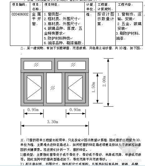 门窗工程招投标清单组价计算案例分析