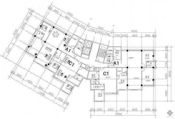 塔式高层一梯四户公寓建筑户型图(179/179/134/134)