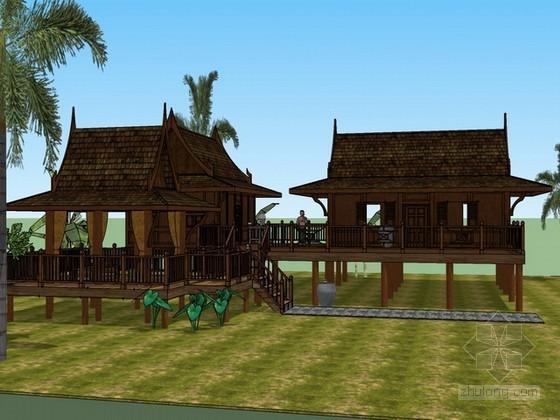 泰国民居住宅sketchup模型下载