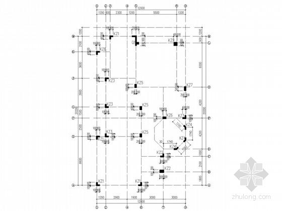 欧式别墅异形柱框架结构施工图(带螺旋楼梯)