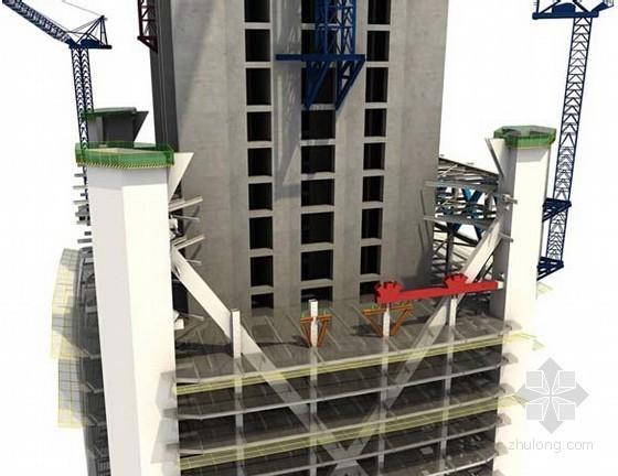 [天津]超高层写字楼钢结构施工流程图(三维效果图)