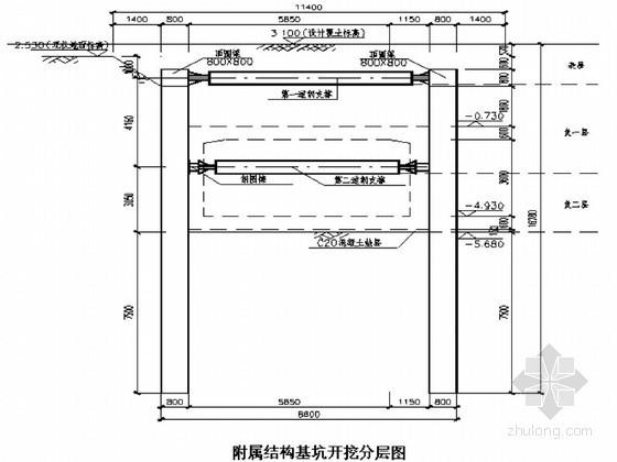 地铁附属结构基坑土方开挖及降水施工方案(支撑架设)