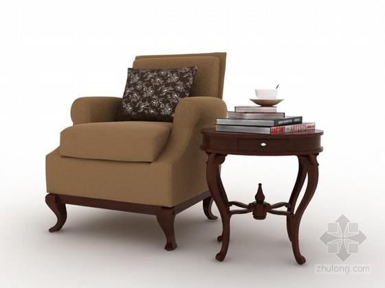 单人沙发茶几组合3d模型下载