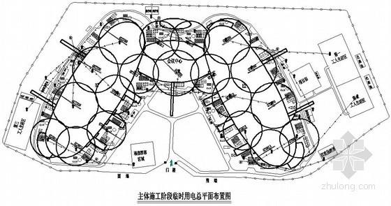 [福州]会展中心临时用电、给排水及消防平面布置图