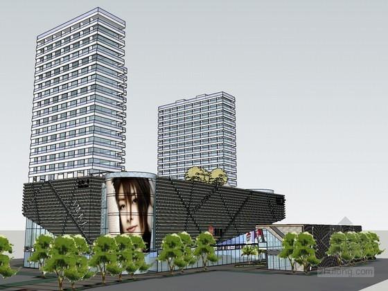 商业广场建筑SketchUp模型下载-商业广场建筑