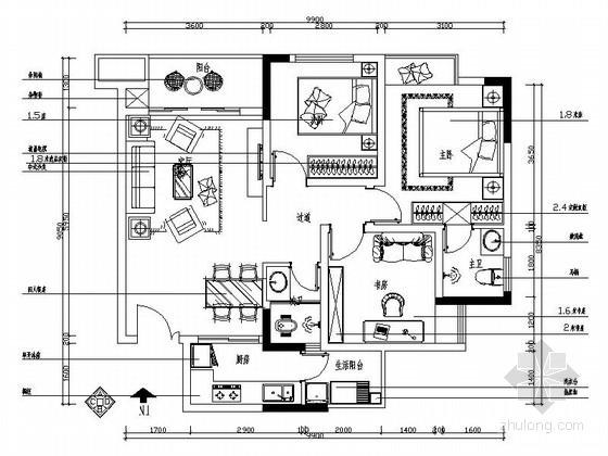 [重庆]雅致新中式三居室样板房装修图(含效果)