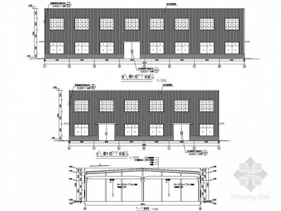 18米两联跨钢结构厂房带10T吊车结构施工图