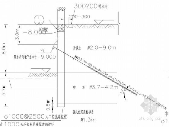 [福建]8米深基坑排桩墙支护施工图(含设计计算书)