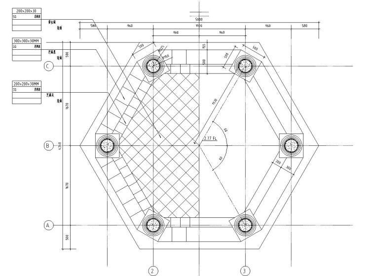 六角景观亭子设计详图 (钢筋混凝土)——泛亚景观