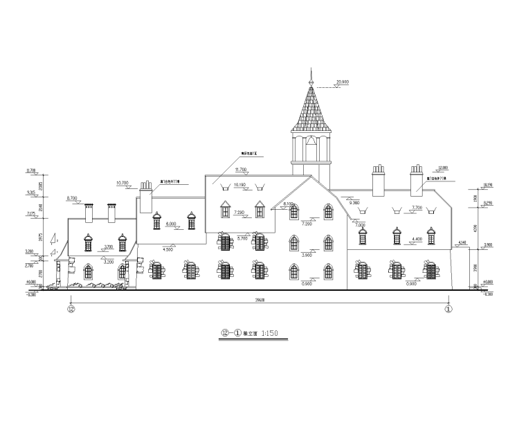特色园林景观建筑设计施工图-艺术钟楼 1