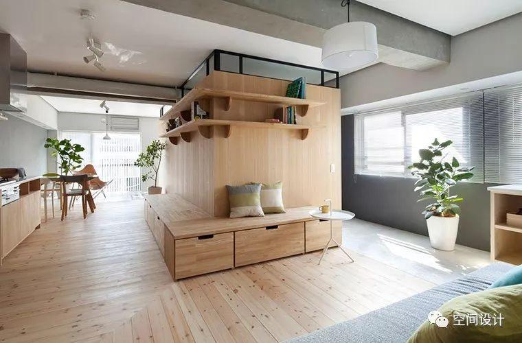 日本63平长型屋聪明改造术:全屋无门设,L型卧榻轻松搞定隔间