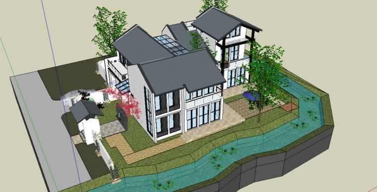 现代风格别墅庭院景观设计模型