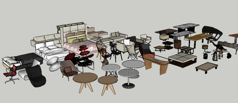 欧式奢华沙发3D模型资料下载-室内设计常用座椅、桌凳、沙发、床等SU模型合集