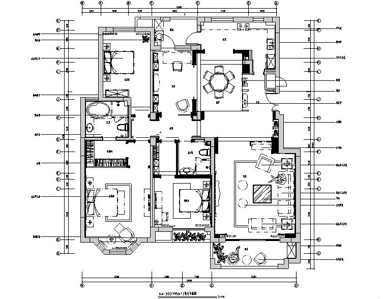 [山东]国山墅四居室样板间设计施工图(附效果图)