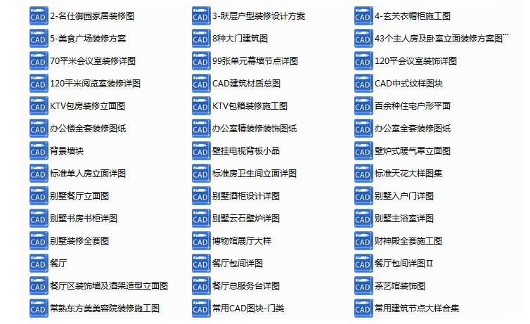 300多套CAD装修施工图纸(家装,工装,节点等)_1