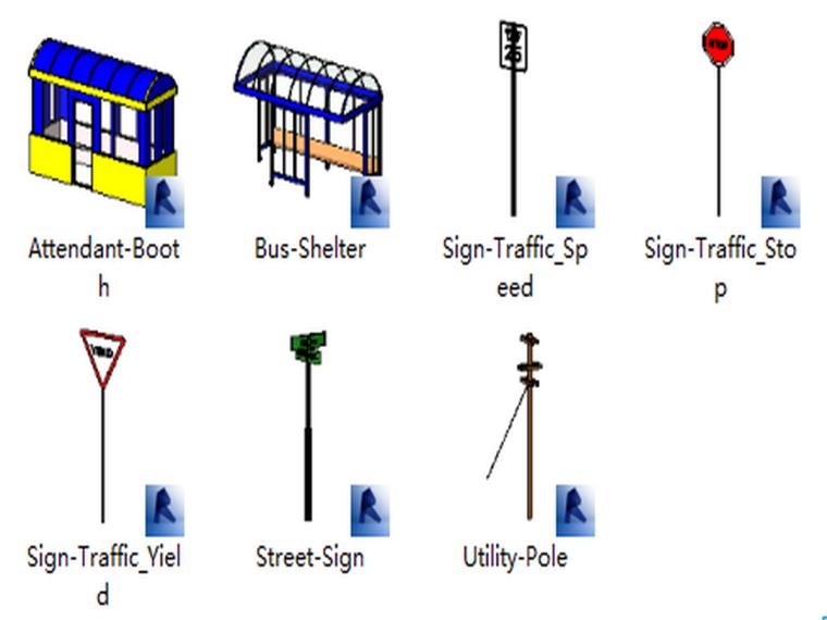 BIM族庫-園林-基礎設施-交通標志