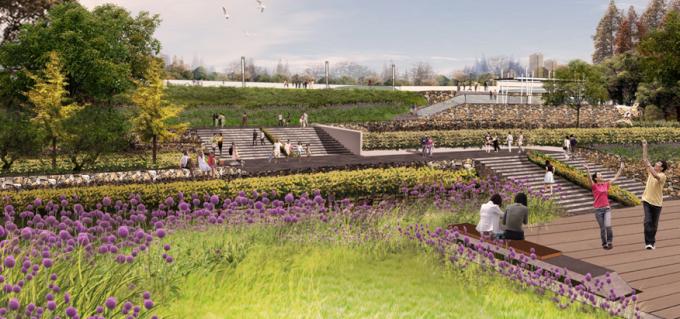[山西]滨河崖壁生态立体化湿地公园景观设计方案-花田景观效果图