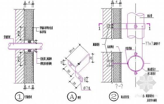 聚苯板外墙外保温穿墙管道、雨水管做法图
