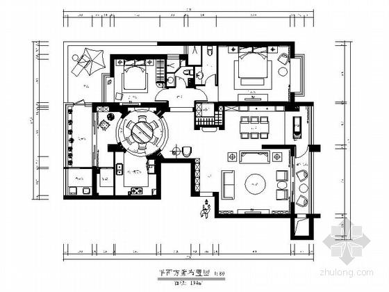 高档大气简欧两居室设计CAD装修图(含实景)