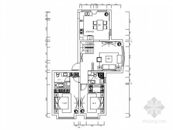 [沧州]精致浪漫欧式风格复式样板房CAD装修施工图(含效果)