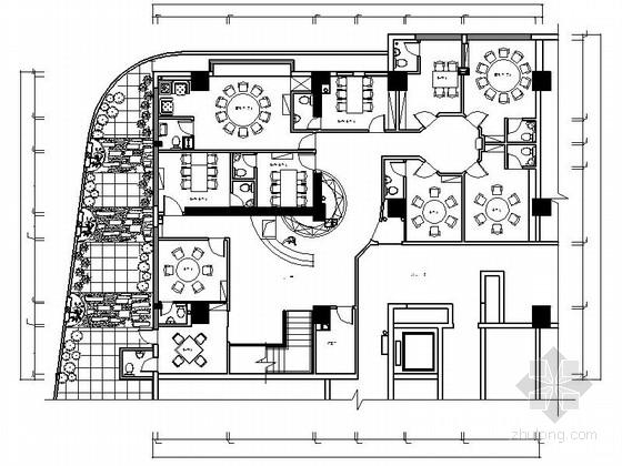 [四川]豪华中餐厅室内装修CAD施工图(含效果)