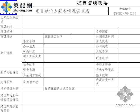 项目建设方基本情况调查表
