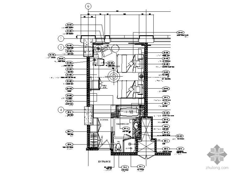 五星级酒店标准客房双人间施工图