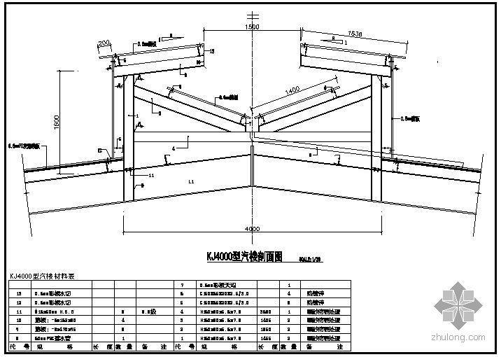 U型社区服务中心楼资料下载-某KJ4000型汽楼节点构造详图
