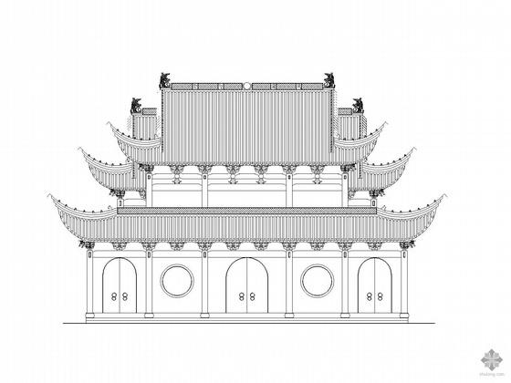 中式戏台、祠堂建筑施工图