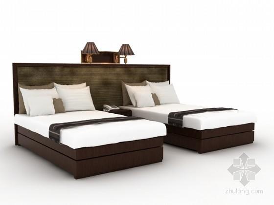 宾馆标准间单人床3d模型下载