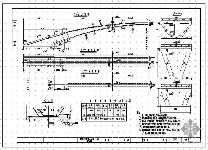 小半径变截面连续箱梁人行天桥设计图纸