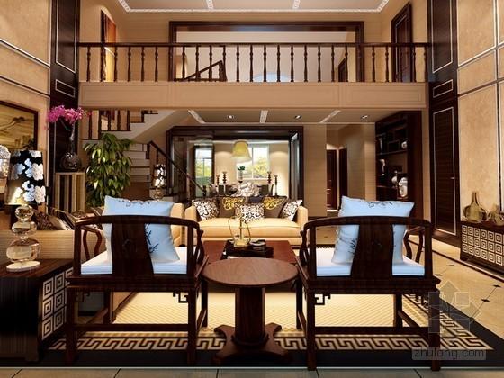 豪华中式别墅客厅3d模型下载