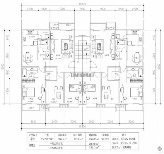 板式多层一梯两户三室一厅两卫户型图(127/127)