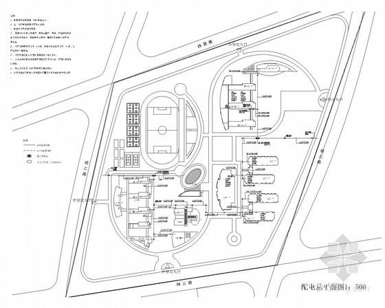 [内蒙古]学校电力工程外线总图电气总平面图(甲级院)