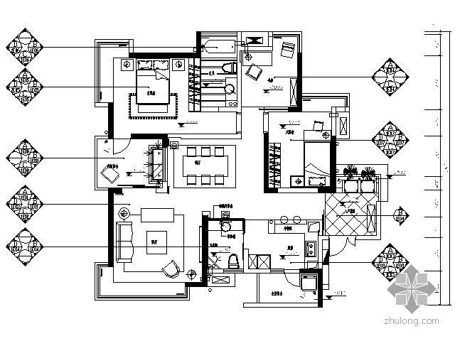 [重庆]三室两厅样板间施工图(含实景)
