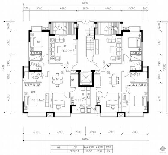 板式高层一梯两户三室二厅二卫户型图(105/116)