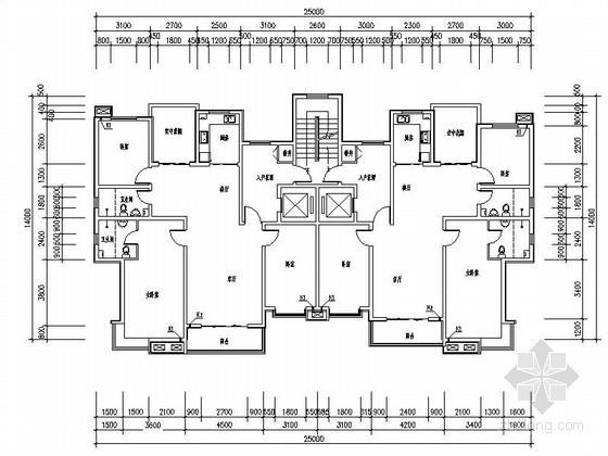多层、小高层板式住宅户型平面图(电梯直接入户、带入户花园)