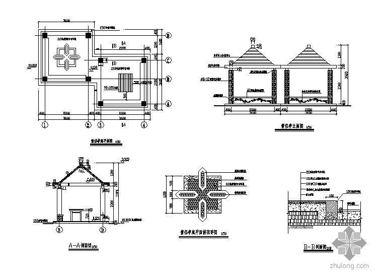 CAD景观亭施工图45例