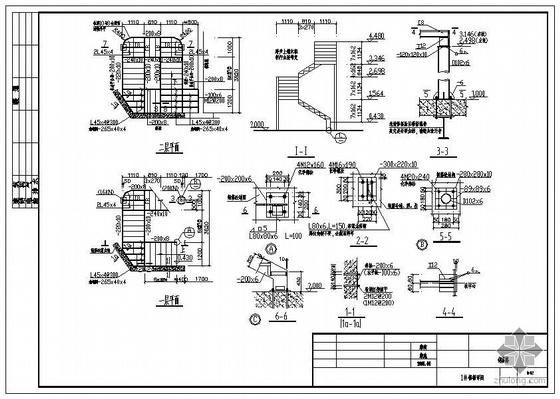 某土建结构上增加钢梯结构施工图