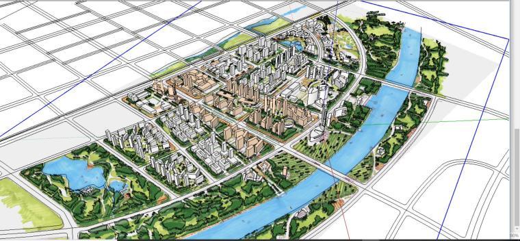 某居住区规划设计SU模型+CAD+效果图